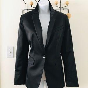 Satin tuxedo style long blazer by Body by Victoria
